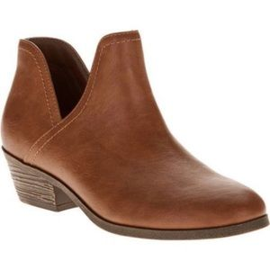 Faded Glory side slit brown ankle booties